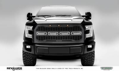 "T-REX Grilles - 2015-2017 F-150 Revolver Grille, Black, 1 Pc, Replacement, Chrome Studs with (4) 6"" LEDs, Does Not Fit Vehicles with Camera - PN #6515731"