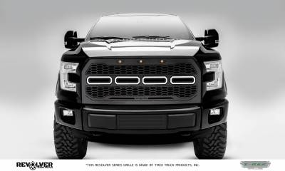 T-REX Grilles - 2015-2017 F-150 Revolver Grille, Black, 1 Pc, Replacement, Chrome Studs, Does Not Fit Vehicles with Camera - PN #6515751
