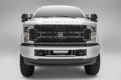 T-REX Grilles - 2017-2019 Super Duty X-Metal Grille, Black, 1 Pc, Replacement, Chrome Studs, Fits Vehicles with Camera - PN #6715371