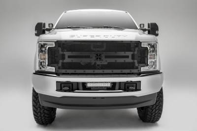 T-REX Grilles - 2017-2019 Super Duty Stealth X-Metal Grille, Black, 1 Pc, Replacement, Black Studs, Fits Vehicles with Camera - PN #6715371-BR