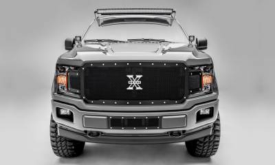 T-REX Grilles - T-REX Ford F-150 - X-Metal Series - Main Grille Replacement - Chrome Studs with Black Powdercoat Finish - Pt # 6715711