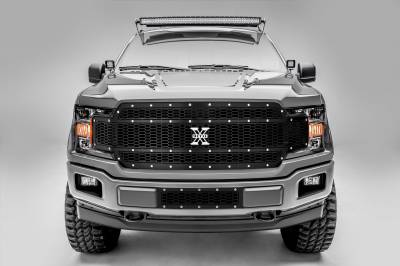 T-REX Grilles - T-REX Ford F-150 - Laser X-Metal Series - Main Grille Replacement - Laser Cut Steel Pattern - Chrome Studs with Black Powdercoat Finish - Pt # 7715841