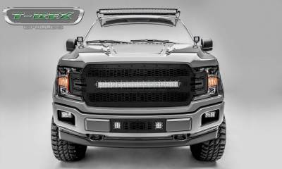 "T-REX Ford F-150 - Laser Torch STEALTH Series - Main Grille Replacement w/ (1) 30"" LED Light Bar - Laser Cut Steel Pattern - Black Studs with Black Powdercoat Finish - Pt # 7315711-BR"