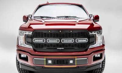"T-REX Grilles - 2018-2019 F-150 Limited, Lariat Revolver Bumper Grille, Black, 1 Pc, Overlay, Chrome Studs, Incl. (2) 3"" LED Cube Lights - PN #6525751"