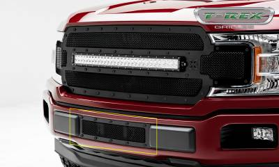 T-REX Grilles - T-REX Ford F-150 - X-Metal STEALTH Series - Bumper Grille Overlay with Black Studs with Black Powdercoat Finish - Pt # 6725791-BR