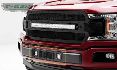 "T-REX Grilles - 2018-2019 F-150 Limited, Lariat Stealth Torch Bumper Grille, Black, 1 Pc, Replacement, Black Studs, Incl. (2) 3"" LED Cube Lights - PN #6325791-BR"
