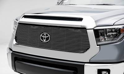Toyota Tundra Billet Grille - Main Replacement w/ OE Logo Provision - 1 Pc, Polished Black Powdercoated Aluminum Bars - Pt # 20966