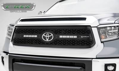 T-REX Grilles - 2018-2019 Toyota Tundra Main Grille, Including (2) 10 Inch ZROADZ LED Straight Single Row Slim Light Bars - Z319661