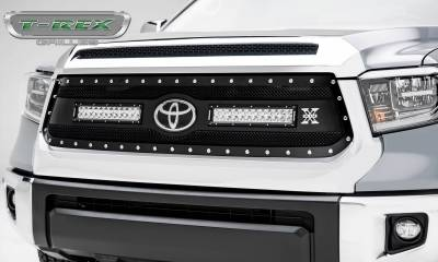 "T-REX Grilles - 2018-2021 Tundra Torch Grille, Black, 1 Pc, Replacement, Chrome Studs with (2) 12"" LEDs - PN #6319661"
