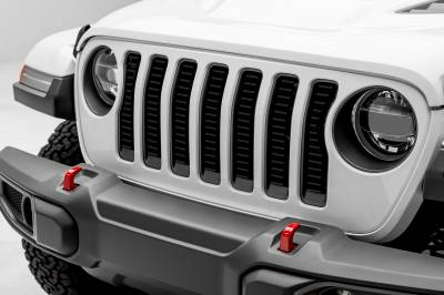 "T-REX Grilles - Jeep Wrangler JL - Billet Series -  3/16"" Thick Laser Cut Aluminum - Insert Bolts-On Behind Factory Grille -  Black Powder Coat Finish - Pt # 6204931"