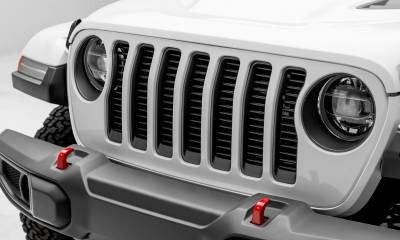 "T-REX Grilles - Jeep Wrangler JL - Billet Series -  3/8"" Thick Round Billet Stock - Insert Bolts-On Behind Factory Grille -  Black Powder Coat Finish - Pt # 6204941"