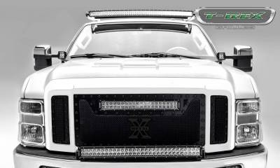 "T-REX Grilles - 2008-2010 Super Duty Stealth Torch Grille, Black, 3 Pc, Replacement, Black Studs with (1) 20"" LED - PN #6315451-BR"
