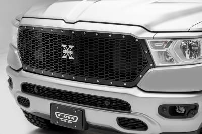 T-REX Grilles - 2019 Ram 1500 Laramie, Lone Star, Big Horn, Tradesman Laser X Grille, Black, 1 Pc, Replacement, Chrome Studs - PN #7714651