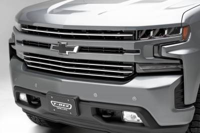 T-REX Grilles - 2019-2021 Silverado 1500 Trail Boss, RST, LT Round Billet Grille, Horizontal Round, Silver, 4 Pc, Overlay, Does Not Fit Vehicles with Camera - PN #6211236