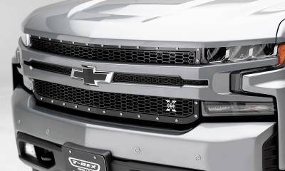 T-REX Grilles - 2019 Silverado 1500 Laser X Grille, Black, 1 Pc, Replacement, Chrome Studs - PN #7711261