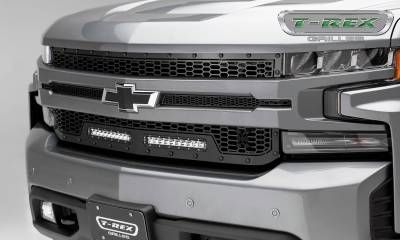 "T-REX Grilles - 2019 Silverado 1500 Stealth Laser Torch Grille, Black, 1 Pc, Replacement, Black Studs, Incl. (2) 10"" LEDs - PN #7311261-BR"