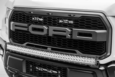 ZROADZ - 2017-2021 Ford F-150 Raptor OEM Grille LED Kit with (2) 6 Inch LED Straight Single Row Slim Light Bars - PN #Z415651-KIT