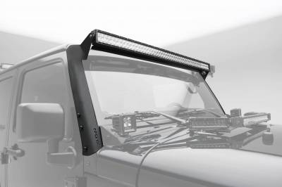ZROADZ - 2007-2018 Jeep JK Front Roof LED Bracket to mount (1) 50 or 52 Inch Staight LED Light Bar - PN #Z374811