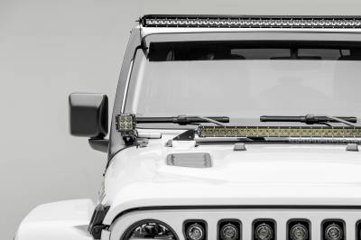 ZROADZ - 2018-2019 Jeep JL Front Roof LED Kit, Incl. (1) 50 Inch LED Straight Single Row Slim Light Bar and (2) 3 Inch LED Pod Lights - PN #Z374631-KIT2