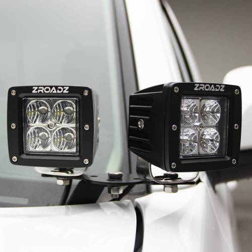 ZROADZ - 2016-2021 Toyota Tacoma Hood Hinge LED Kit with (4) 3 Inch LED Pod Lights - PN #Z369401-KIT4