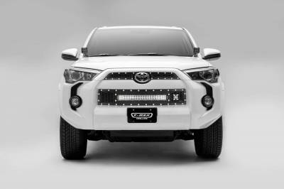 "T-REX Grilles - 2014-2019 Toyota 4Runner Laser Torch Grille, Black, 3 Pc, Insert, Chrome Studs with (1) 20"" LED - PN #7319491"