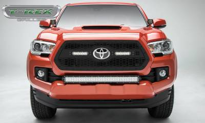 "T-REX Grilles - 2018-2021 Tacoma Stealth Laser Torch Grille, Black, 1 Pc, Insert, Black Studs with (2) 6"" LEDs, Does Not Fit Vehicles with Camera - PN #7319511-BR"