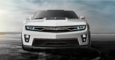 T-REX Grilles - 2012-2015 Chevrolet Camaro Predator Hidden Headlight Lower bumper grille fits Zl1 models (Matte black finish) - PN #DJ3101-75
