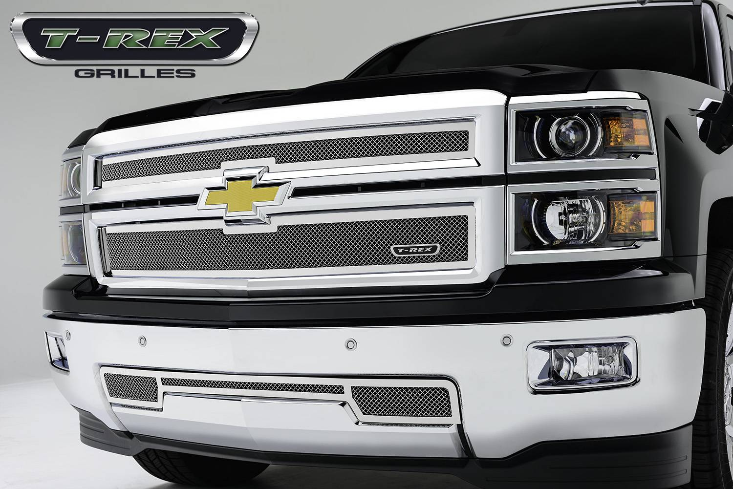 T-REX Chevrolet Silverado Upper Class, Formed Mesh Grille, Main, Replacement, 2 Pc's, Polished Stainless Steel - Pt # 54121