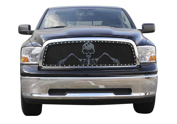 "T-REX Dodge Ram PU 1500 URBAN ASSAULT ""GRUNT"" - Studded Main Grille w/ Soldier - Black OPS Flat Black  - Custom 1 Pc Opening Requires Cutting center Bars - Pt # 7114576"