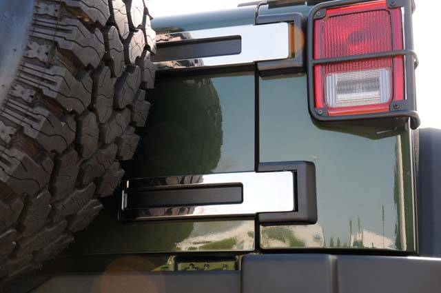 T-REX Grilles - 2007-2018 Jeep JK, JKU  Rear Spare Tire Carrier Hinge Kit, Polished, 2 Pc, Tape - PN #10485