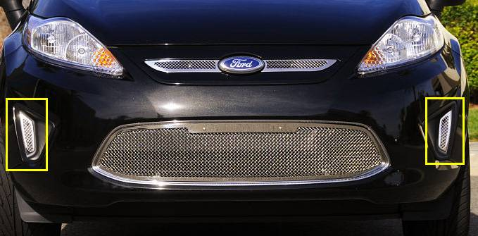 T-REX Grilles - Ford Fiesta Upper Class Polished Stainless Bumper Mesh Grille - 2 Pc Side Openings - Pt # 11588