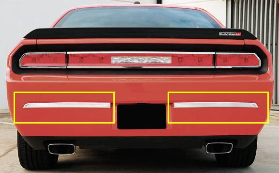 T-REX Dodge Challenger ALL T1 Series Rear Bumper Trim - 2 Pc - Polished Aluminum - Pt # 12418