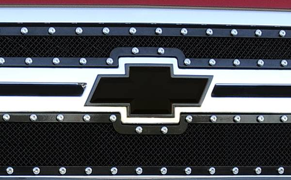 T-REX Grilles - 2011-2014 Silverado HD Bowtie with Border, Black, 1 Pc, Bolt-On - PN #19114B