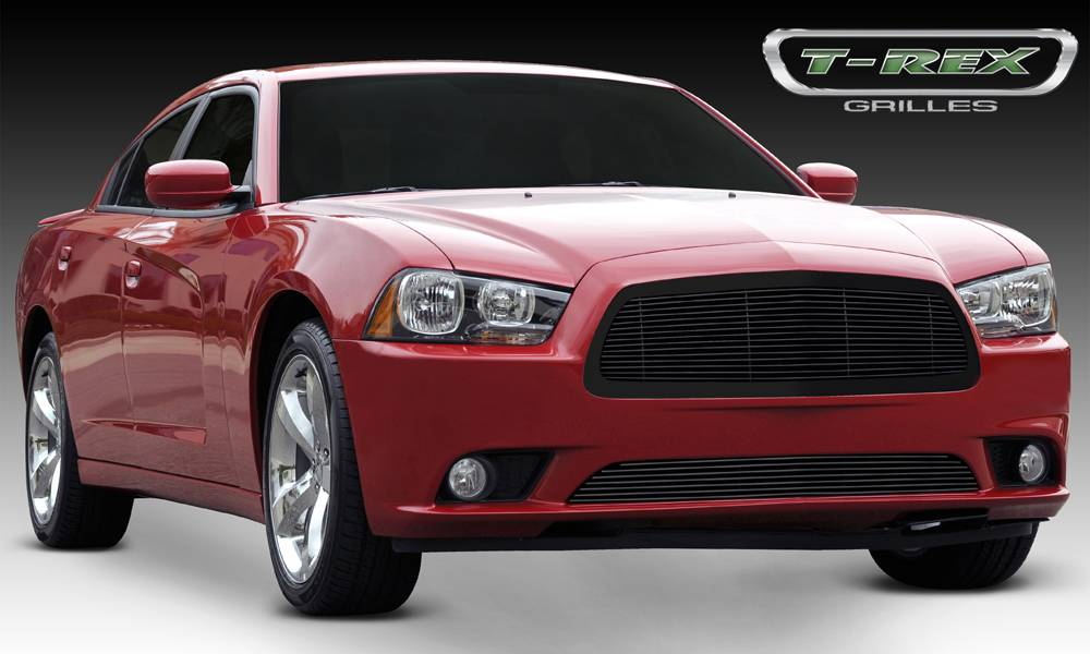 T-REX Grilles - 2011-2014 Charger Billet Grille, Black, 1 Pc, Replacement - PN #20442B