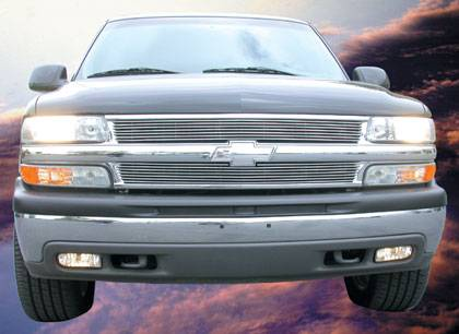 Chevrolet Silverado Billet Grille Overlay/Bolt On - 2 Pc 7 Bars - Pt # 21075