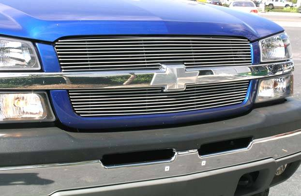 T-REX Grilles - Chevrolet Silverado SS Billet Grille Overlay/Bolt On & Insert - 2 Pc 10, 9 Bars - Pt # 21100