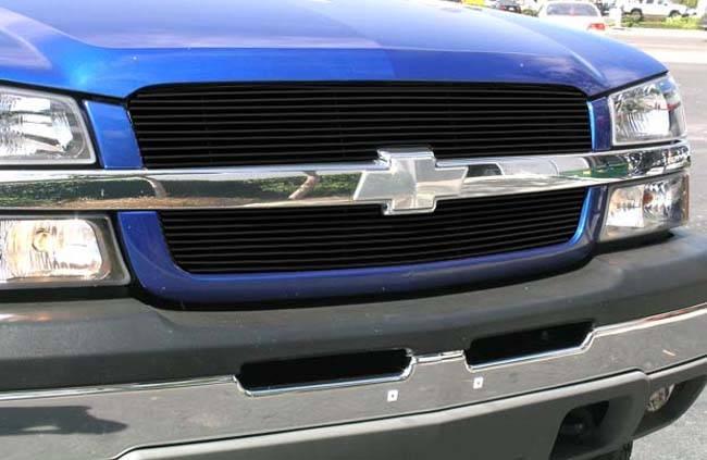 T-REX Grilles - Chevrolet Silverado Billet Grille Overlay/Bolt On & Insert - 2 Pc 10, 9 Bars - All Black - Pt # 21100B