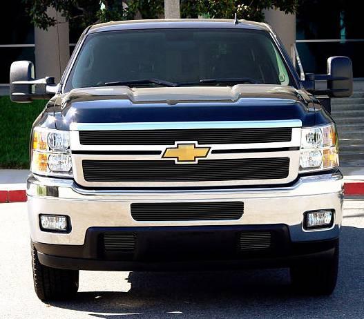 T-REX Grilles - Chevrolet Silverado HD Billet Grille Overlay/Bolt or Insert On - 2 Pc - All Black - Pt # 21114B