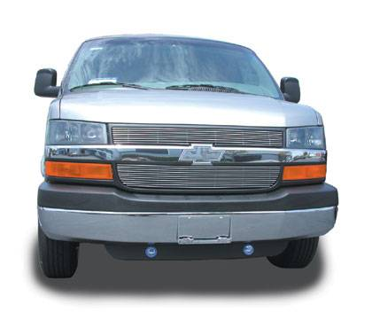 T-REX Grilles - Chevrolet Express Van Billet Grille Overlay/Bolt On - 2 Pc 8, 11 Bars - Pt # 21126