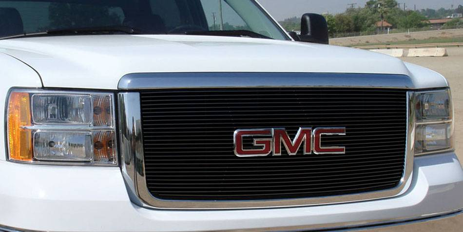 T-REX GMC Sierra HD Billet Grille Insert & Overlay/Bolt On - OE Logo Mounts on Billet 27 Bars - All Black - Pt # 21206B
