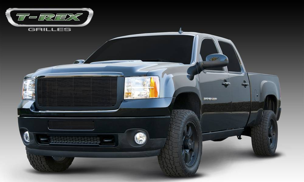 T-REX GMC Sierra HD Billet Grille Insert & Overlay/Bolt On - OE Logo Mounts on Billet - All Black - Pt # 21209B