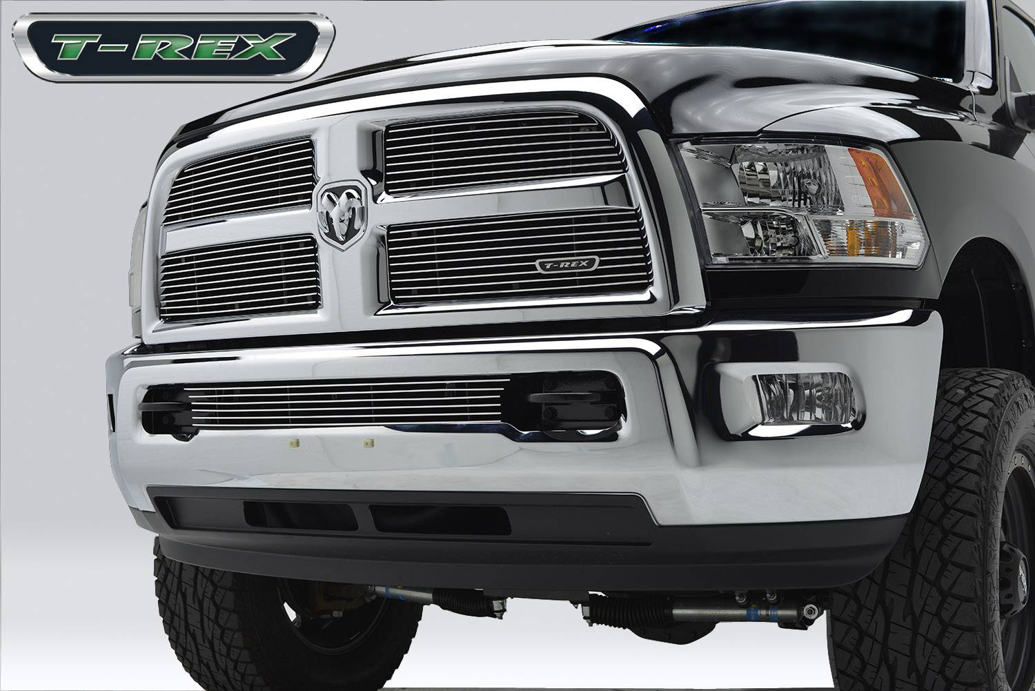 T-REX Ram PU 2500 / 3500 Billet Grille, Main, Replacement, 4 Pc's, Polished Aluminum Bars, Requires replacement of inside chrome - Pt # 21452