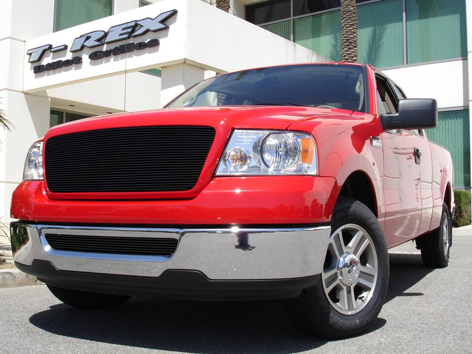 T-REX Ford F150 All Models Billet Grille Bolt On Replaces Factory Center Grille - Full Opening - Fits All Models - All Black - Pt # 21556B