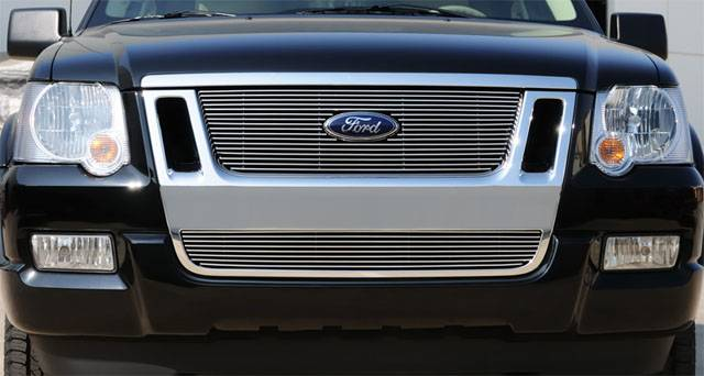 T-REX Grilles - Ford Explorer Sport Trac Billet Grille Overlay/Bolt On w/ Logo Cut Out - Pt # 21662