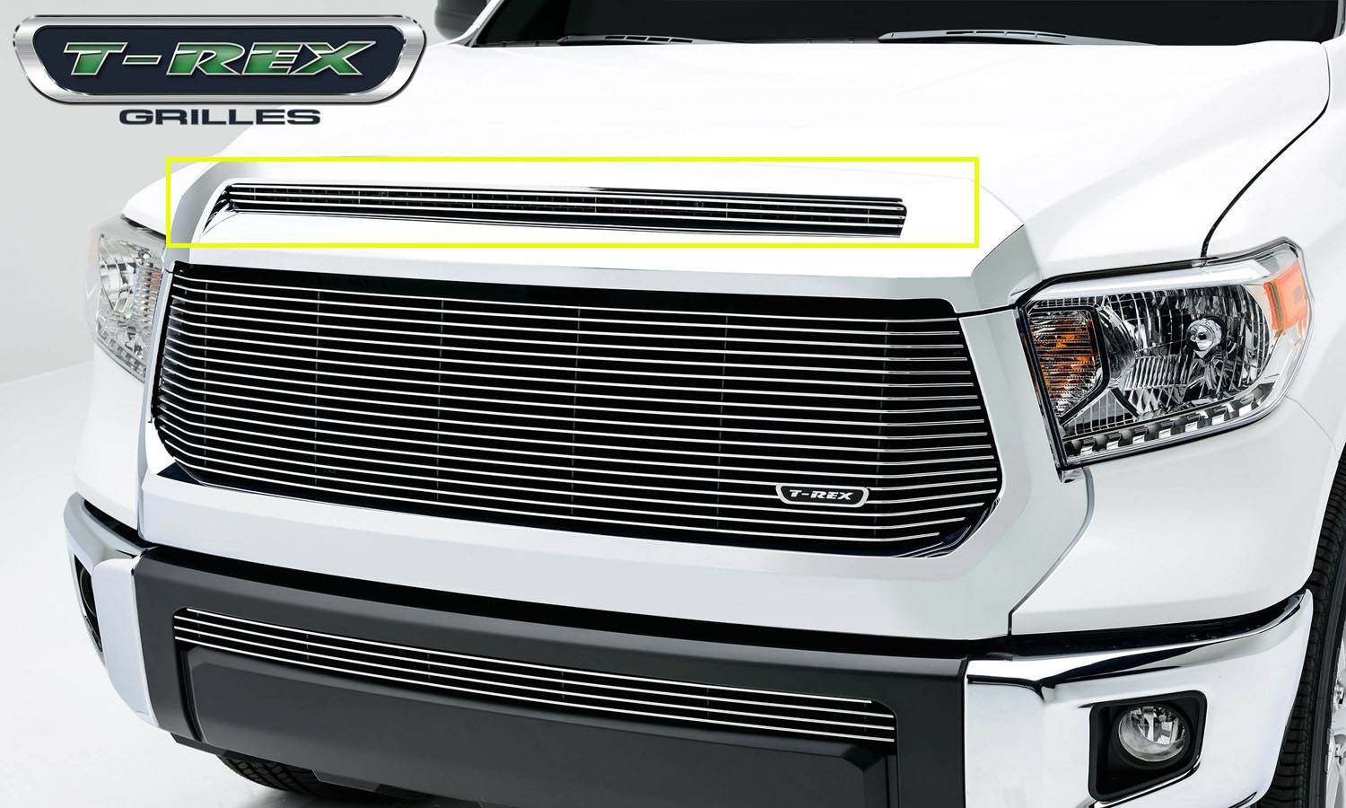 T-REX Toyota Tundra  Billet Grille, Hood, Overlay, 1 Pc, Polished Black Powdercoated Aluminum Bars - Pt # 21964