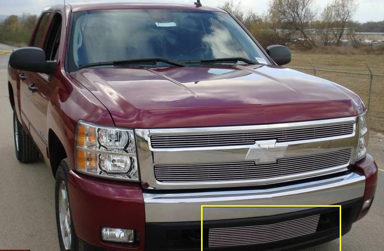T-REX Grilles - 2007-2013 Silverado 1500, 07-10 HD Billet Bumper Grille, Polished, 1 Pc, Bolt-On - PN #25110