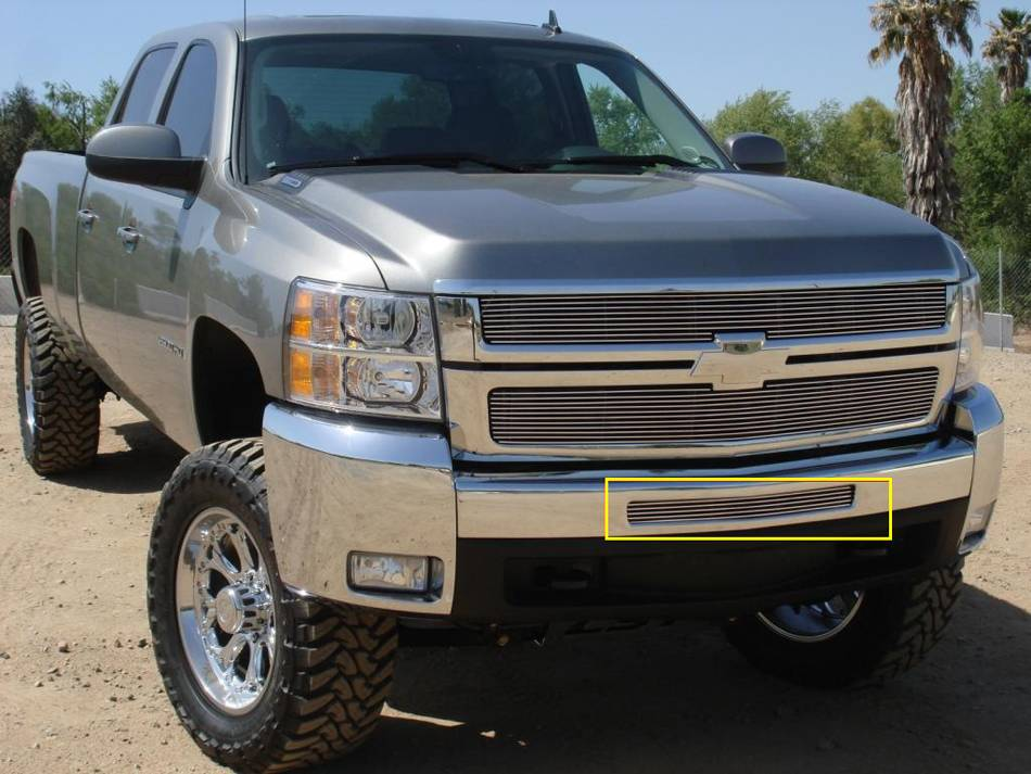 T-REX Grilles - 2009-2013 Silverado 1500, 07-10 HD Billet Bumper Grille, Polished, 1 Pc, Bolt-On - PN #25112
