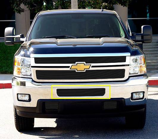 T-REX Chevrolet Silverado HD Bumper Billet Grille - Top steel bumper opening - All Black - Pt # 25114B
