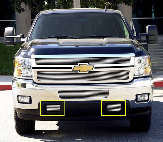 T-REX Grilles - 2011-2014 Silverado HD Billet Bumper Grille, Polished, 2 Pc, Bolt-On, Tow Hook - PN #25115