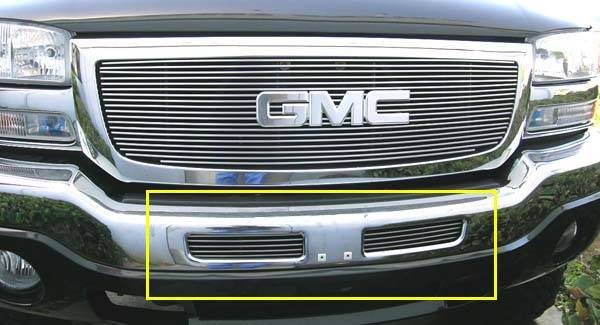 T-REX GMC Sierra Bumper Billet Grille Insert - Top Bumper Openings - 2 Pc Look 5 Bars - Pt # 25201